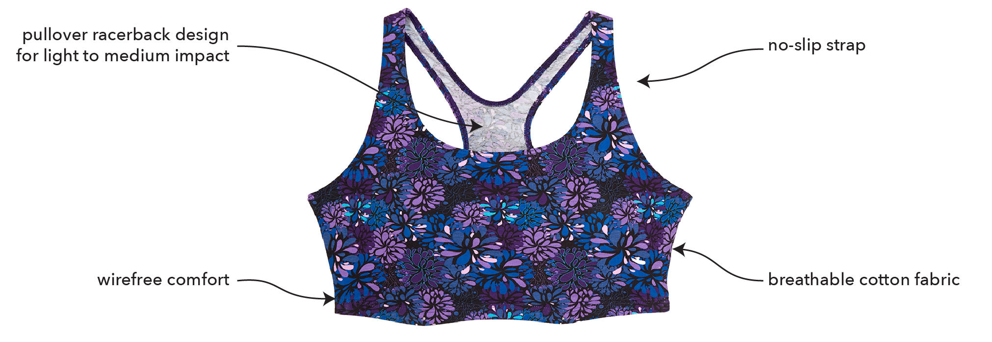 The Serena - Wirefree Sport Full Figure Bra | 514 - Product Detail View